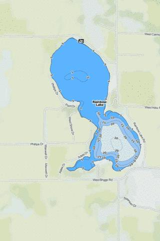 Rainbow Lake Fishing Map - i-Boating App