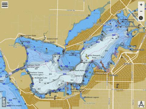 Muskegon Lake Fishing Map Us Mi 61 66 Nautical Charts App