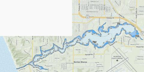 Mona Lake Fishing Map - i-Boating App