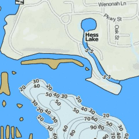 Hess Lake Fishing Map - i-Boating App