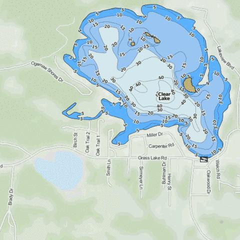 Clear Lake Fishing Map - i-Boating App