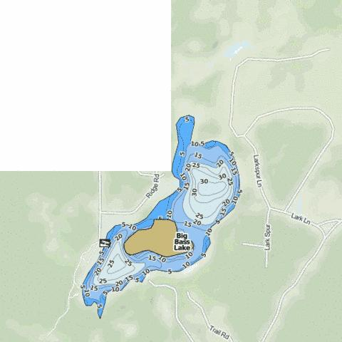 Big Bass Lake Fishing Map - i-Boating App