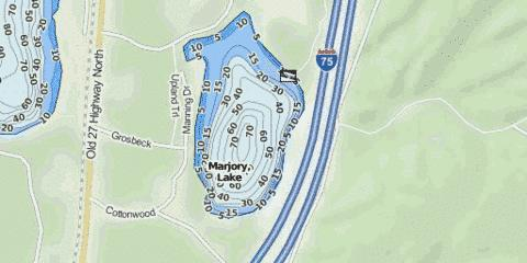 Marjory, Lake Fishing Map - i-Boating App