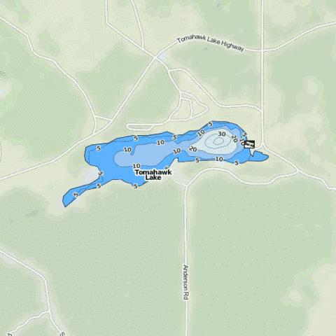 Tomahawk Lake Fishing Map - i-Boating App