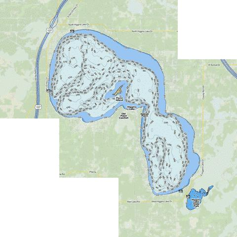 Higgins Lake Fishing Map USMI72117 Nautical Charts App