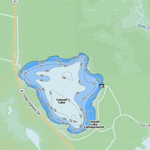 Colwell Lake Fishing Map - i-Boating App