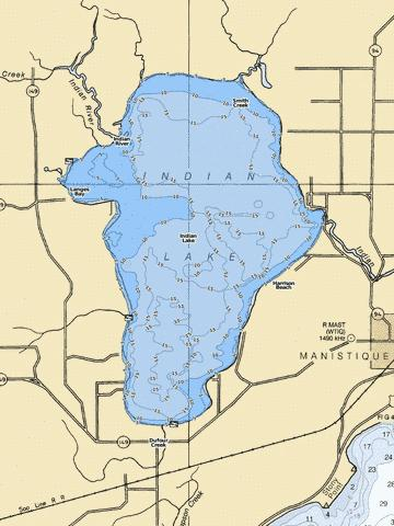 Indian Lake (Fishing Map : US_MI_75_69) | Nautical Charts App