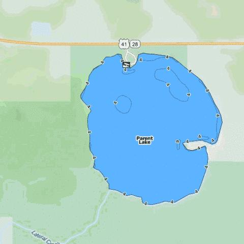 Parent Lake Fishing Map - i-Boating App