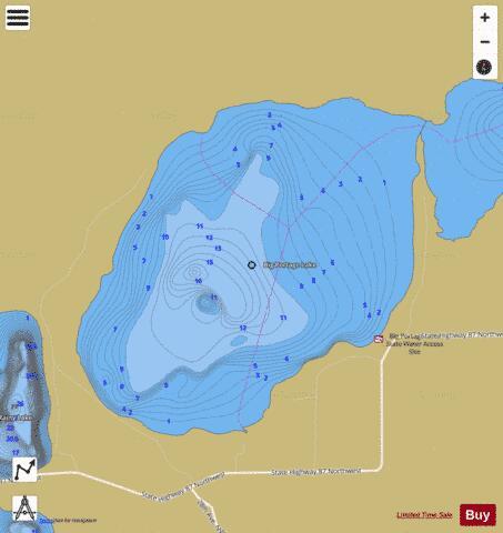 Big portage west bay fishing map us mn 11030801 for Portage lakes fishing