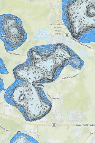 Cowdrey,Lake Fishing Map - i-Boating App