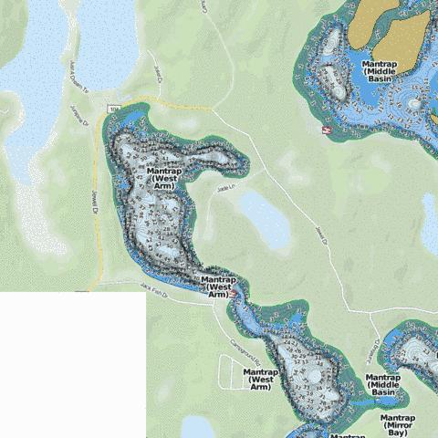 Mantrap (West Arm) Fishing Map - i-Boating App