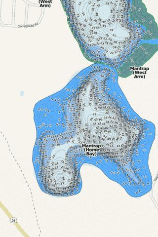 Mantrap (Home Bay) Fishing Map - i-Boating App