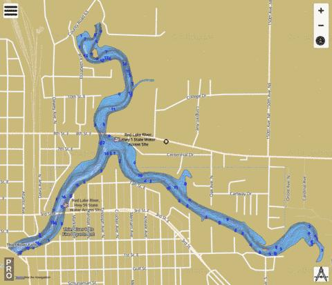 Red Lake River Reservoir Fishing Map - i-Boating App