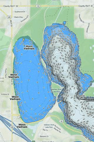 West Vadnais Fishing Map - i-Boating App