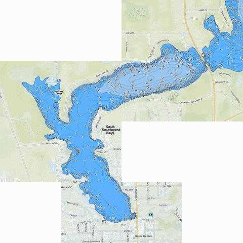 Sauk (Southwest Bay) Fishing Map - i-Boating App