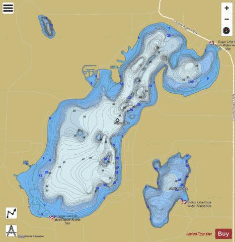 Sugar fishing map us mn 86023300 nautical charts app for Lake henshaw fishing