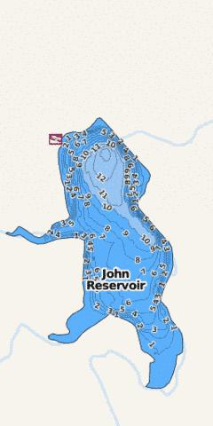 John Reservoir Fishing Map - i-Boating App