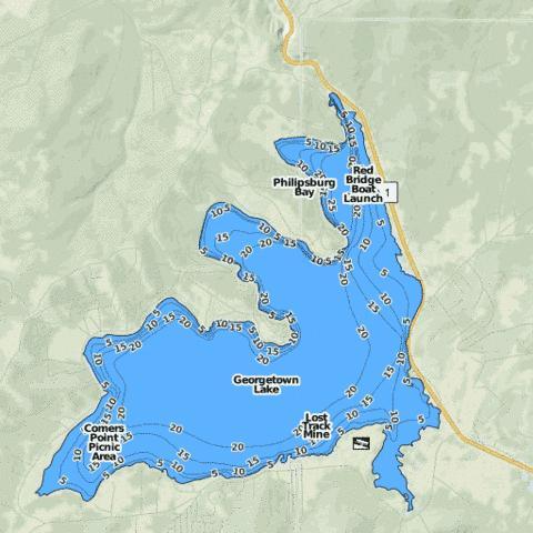 Georgetown lake fishing map us mt 00783903 nautical for Lake georgetown fishing