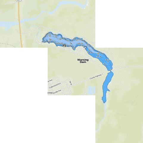 Warsing Dam Fishing Map - i-Boating App