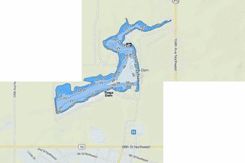Tioga Dam Fishing Map - i-Boating App