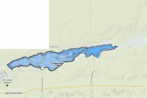 Cottonwood Lake (Williams) Fishing Map - i-Boating App