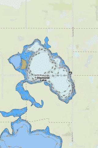 Diamond Lake Fishing Map - i-Boating App