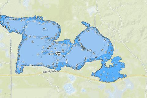 Coe, Lake Fishing Map - i-Boating App