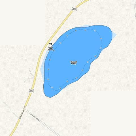 Russell Pond Fishing Map - i-Boating App