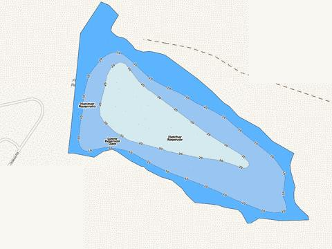 Fletcher Reservoir Fishing Map - i-Boating App