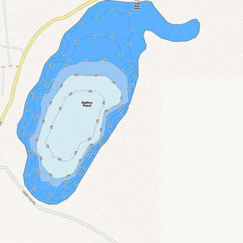Rollins pond fishing map us nh nhlak700060501 05 for Pond depth for fish