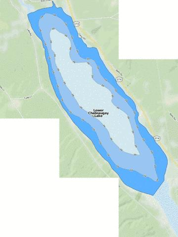 Lower Chateaugay Lake Fishing Map - i-Boating App