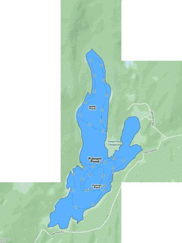 Putnam Pond Fishing Map - i-Boating App