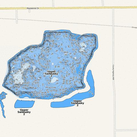 Upper Sandusky 2 Fishing Map - i-Boating App