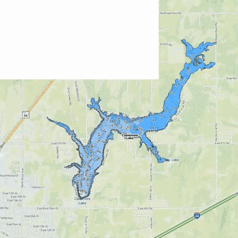 Lake Claremore Fishing Map - i-Boating App