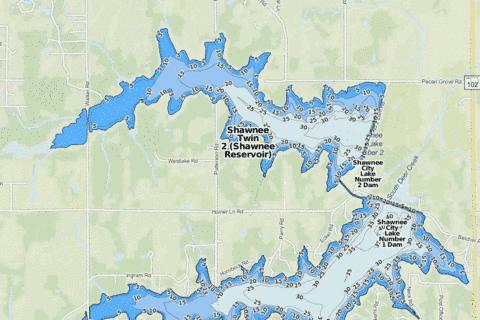 Shawnee Twin 2 (Shawnee Reservoir) Fishing Map - i-Boating App