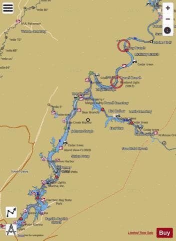 Chickamauga Lake Fishing Map USTN01326920 Nautical Charts App