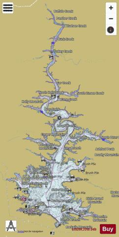 Broken bow lake fishing map us tu ok 01101902 for Kerr lake fishing hot spots