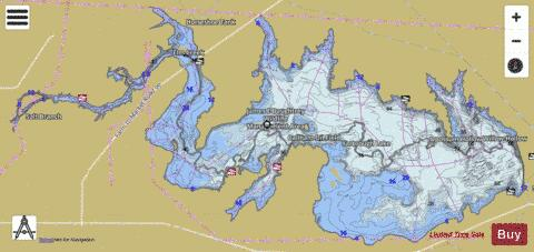Choke canyon reservoir fishing map us tx 01372011 for Canyon lake fishing spots