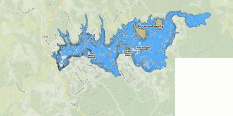 Houston county lake fishing map us tx houstoncounty for Lake conroe fishing map
