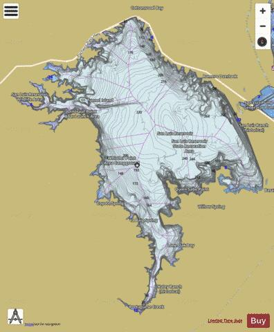 San Luis Reservoir Fishing Map USUBCA Nautical - San luis usa map
