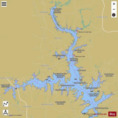 Lake harding bartletts ferry lake fishing map us ub ga for Lake chickamauga fishing map