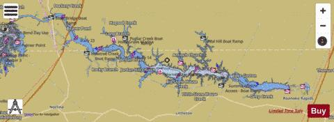 Lake gaston fishing map us ub nc lake gaston for Kerr lake fishing hot spots