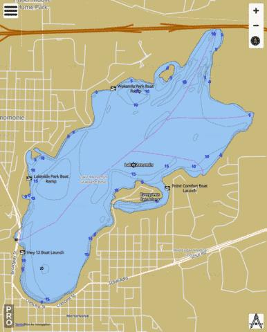 Lake Menomin Fishing Map - i-Boating App