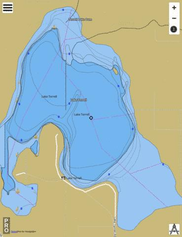 Lake Terrell Fishing Map - i-Boating App