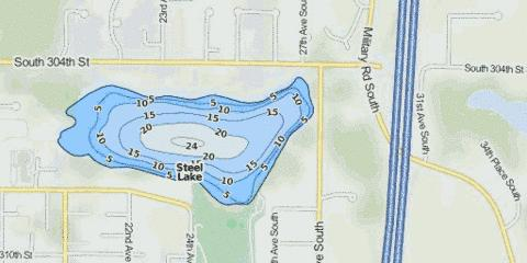 Steel Lake Fishing Map - i-Boating App