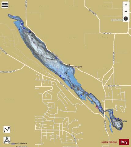 Round lake lacamas lake fishing map us wa 01513478 for Battle ground lake fishing