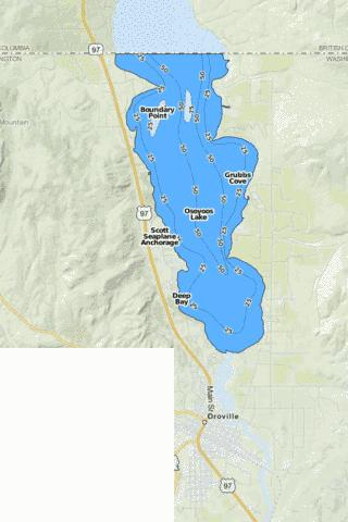 Osoyoos Lake Fishing Map - i-Boating App