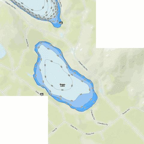 Roses Lake Fishing Map - i-Boating App