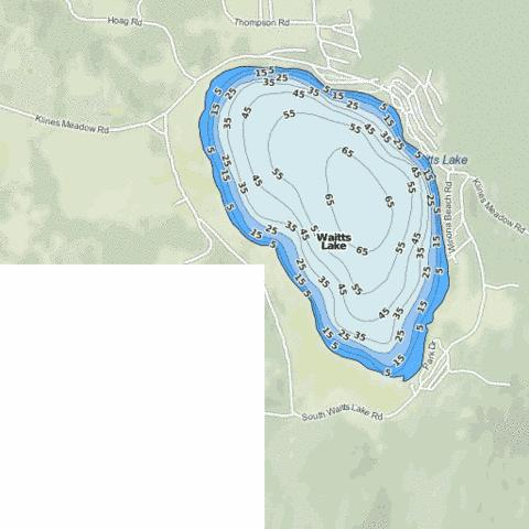 Waitts Lake Fishing Map - i-Boating App