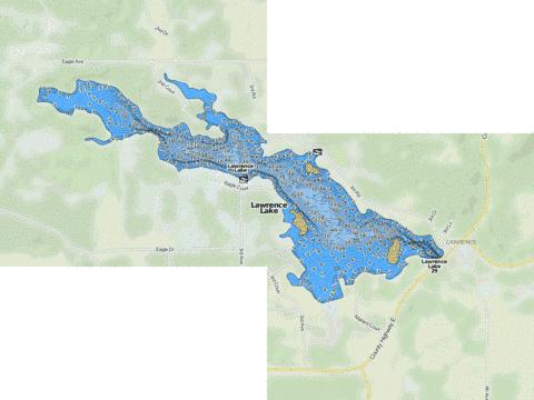 Lawrence Lake Fishing Map - i-Boating App